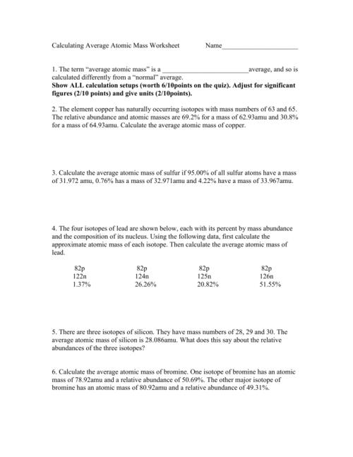small resolution of 30 Calculating Average Atomic Mass Worksheet - Worksheet Resource Plans