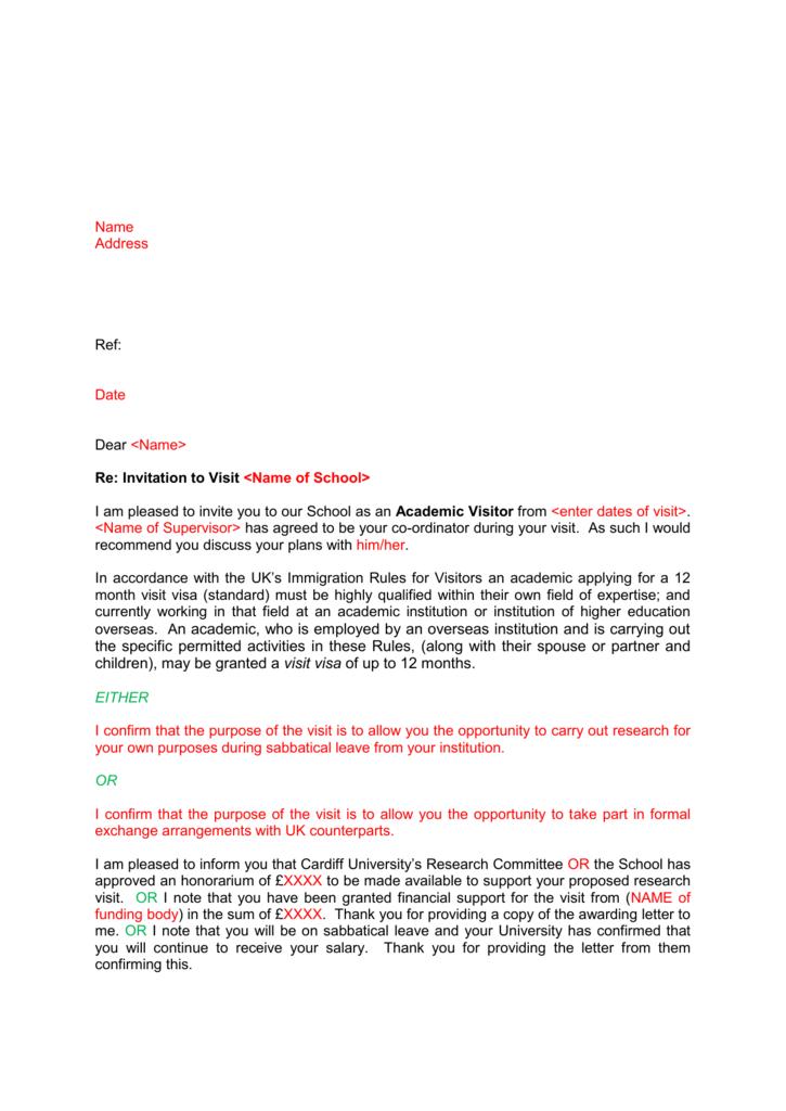 invitation letter to academic visitors