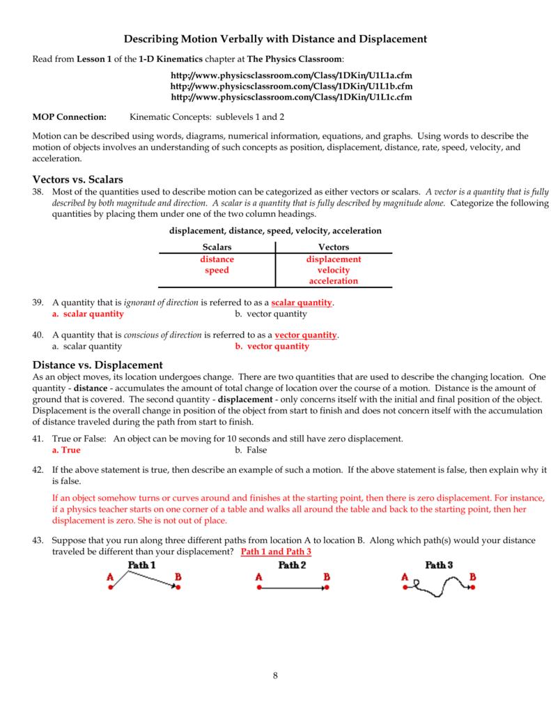 Describing Motion Graphically : describing, motion, graphically, Physics, Classroom, Worksheets