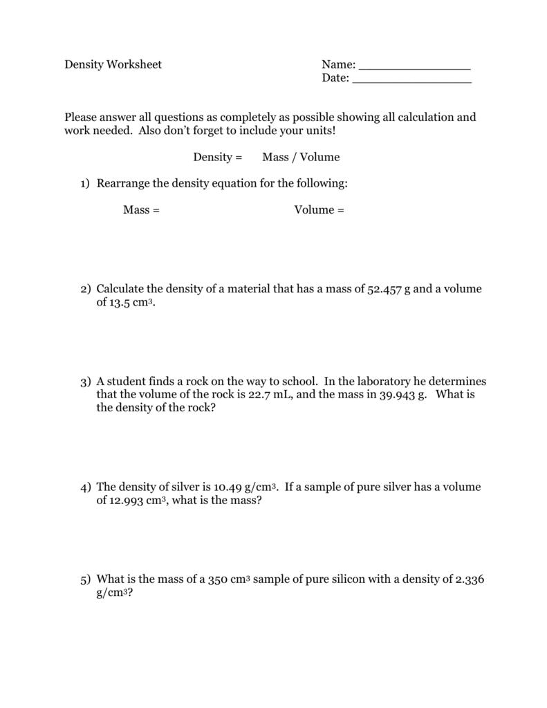 Density Worksheet Answer Key : density, worksheet, answer, Density, Worksheet