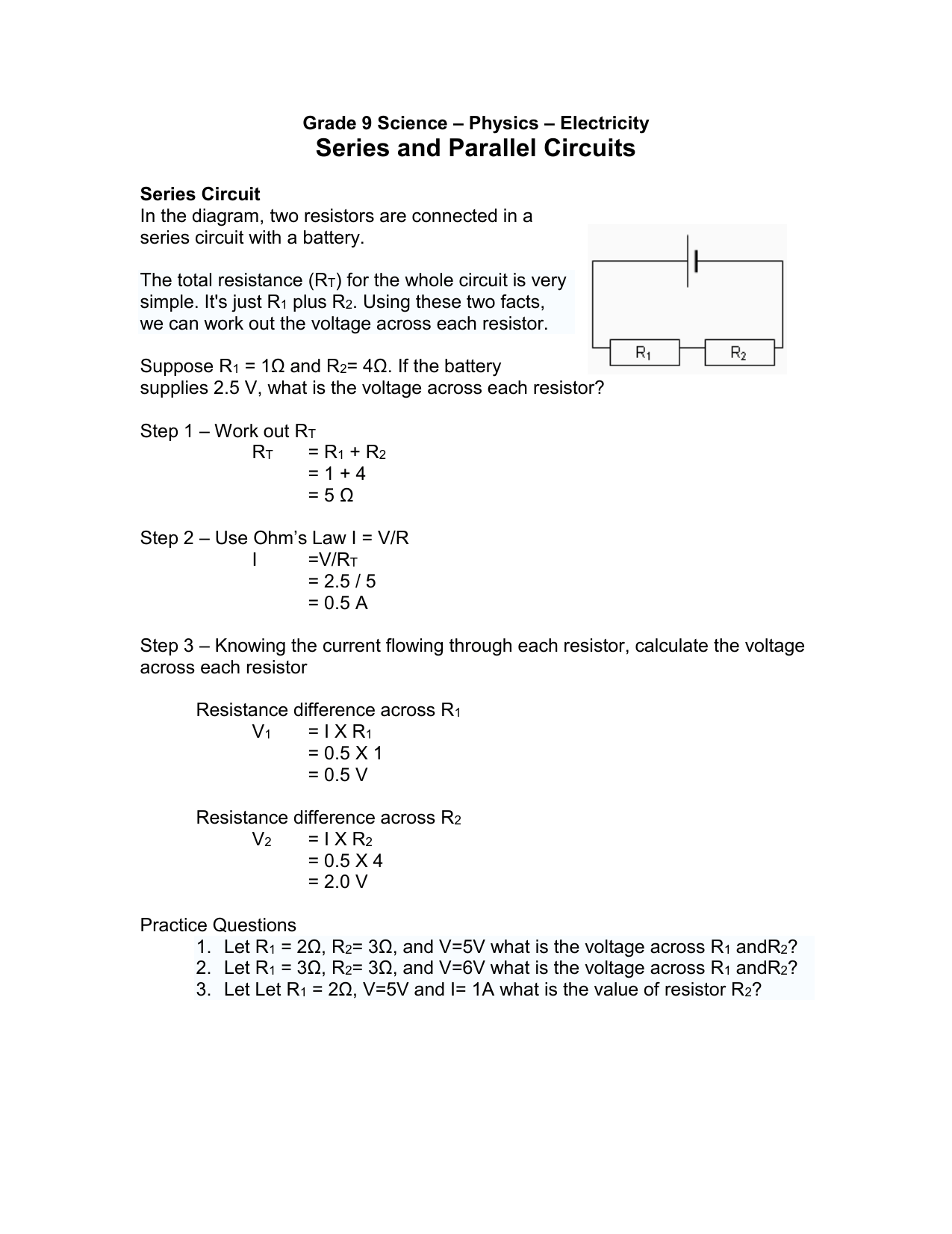 hight resolution of grade 9 science physics electricity series and parallel circuits series circuit in the diagram two resistors are connected in a series circuit with a