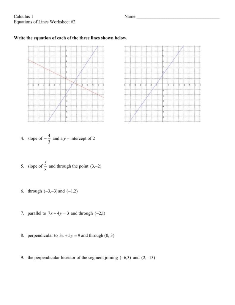 Writing Equations Of Parallel And Perpendicular Lines Test