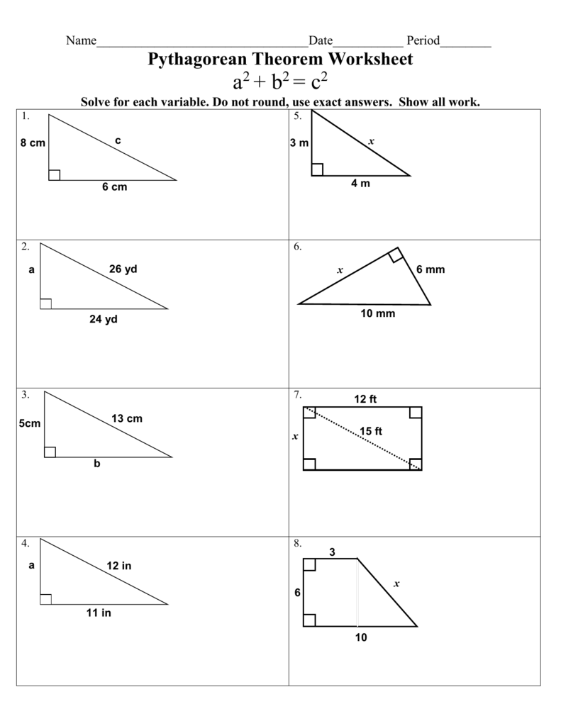 medium resolution of The Pythagorean Theorem Worksheet - Worksheet List