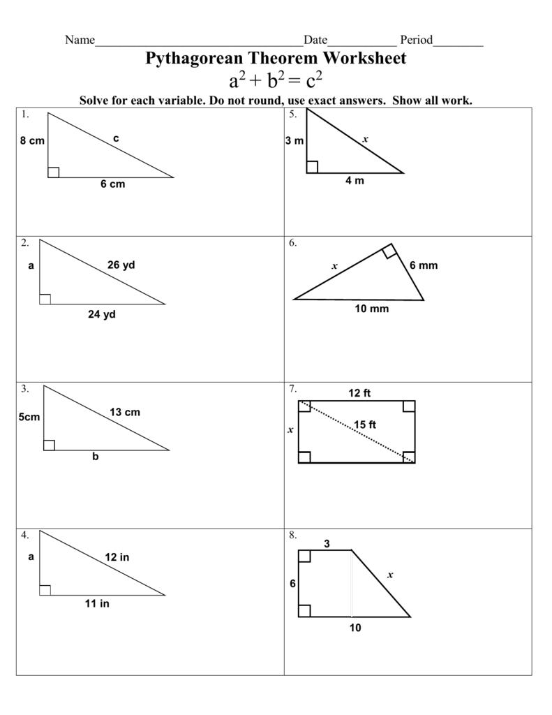hight resolution of The Pythagorean Theorem Worksheet - Worksheet List