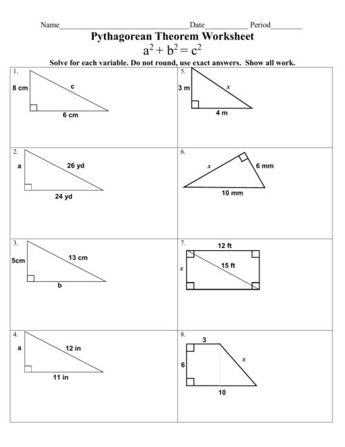 small resolution of The Pythagorean Theorem Worksheet - Worksheet List