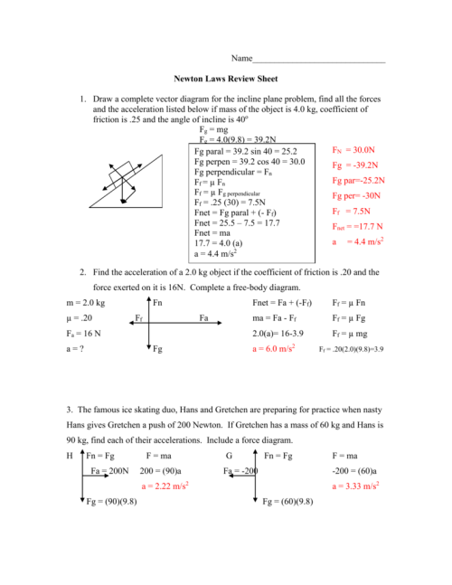 small resolution of draw a complete vector diagram for the incline plane problem find all the forces and the acceleration listed below if mass of the object is 4 0
