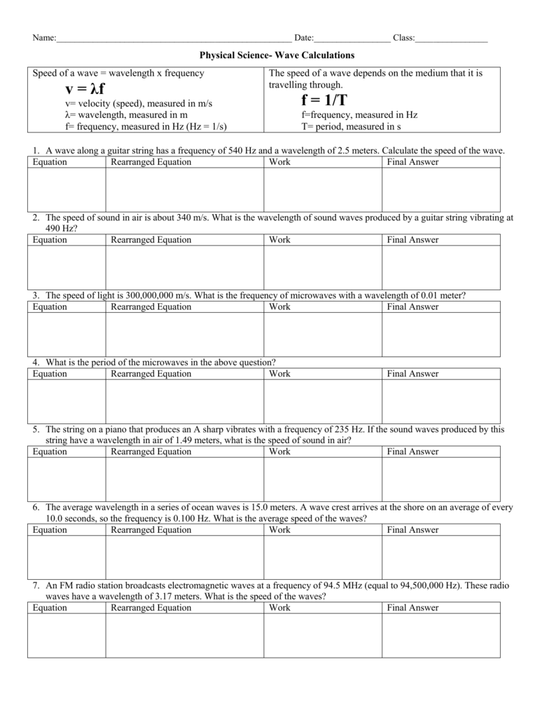hight resolution of 29 Physical Science Wave Calculations Worksheet Answers - Worksheet  Resource Plans