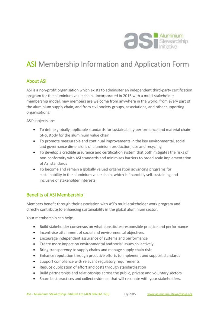 Asi Membership Benefits