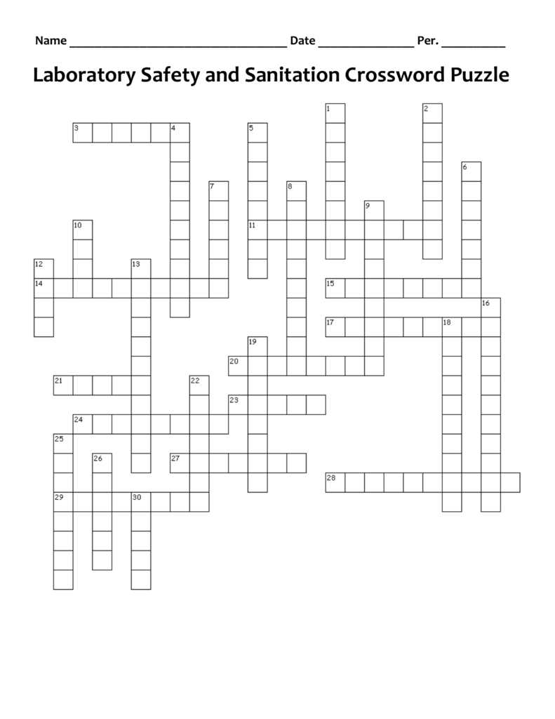 Laboratory Safety and Sanitation Crossword Puzzle