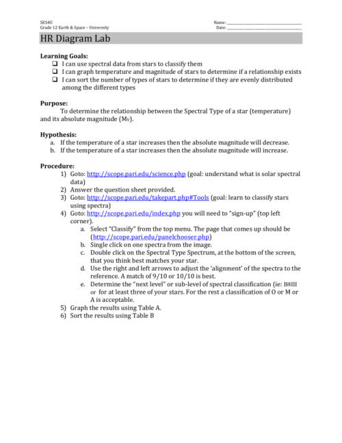 small resolution of hr diagram lab advertisement ses4u grade 12 earth space university name