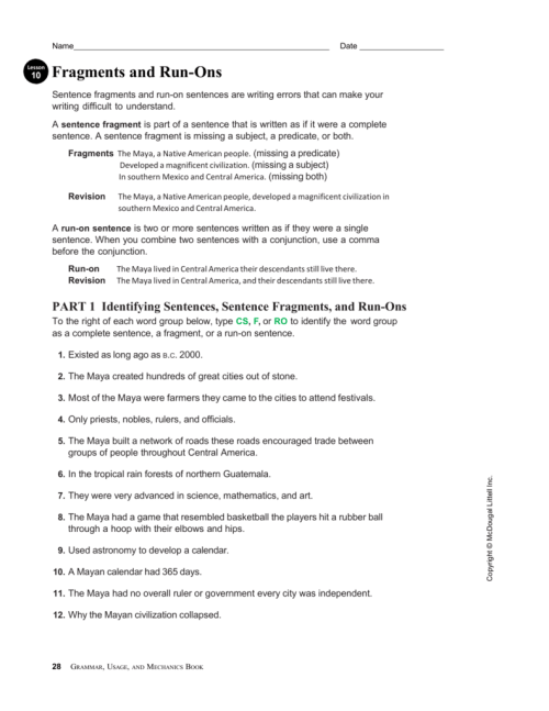 small resolution of 31 Correcting Sentence Fragments Worksheet - Worksheet Resource Plans