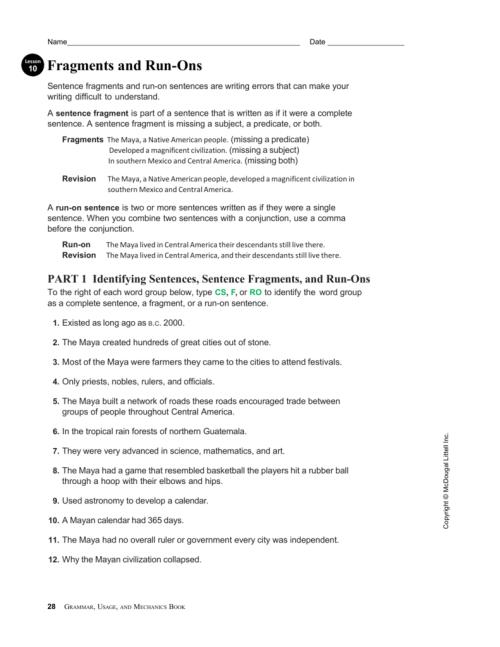 small resolution of 31 Correcting Sentence Fragments Worksheet - Worksheet Resource Plans
