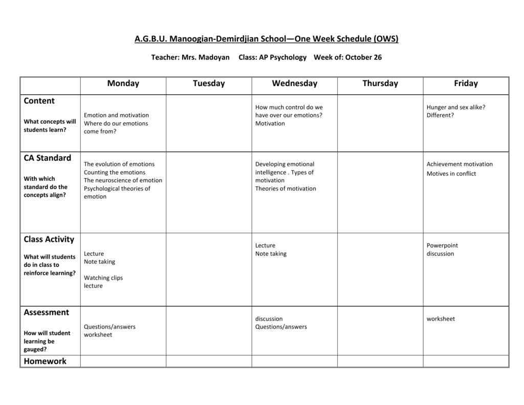 Ap Psychology For The Week Of October26