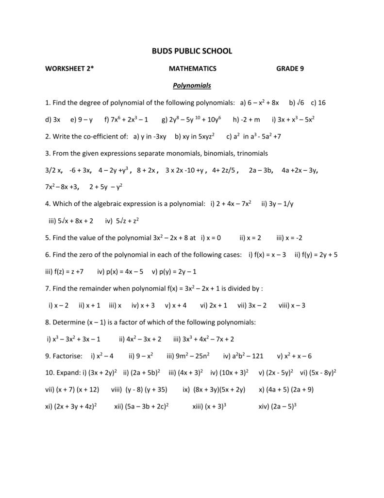 medium resolution of Worksheets for Grade 9_2