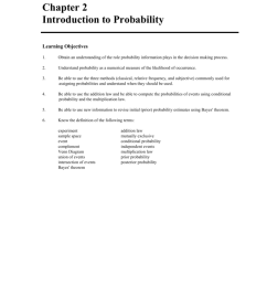 chapter 2 introduction to probability learning objectives 1 obtain an understanding of the role probability information plays in the decision making  [ 791 x 1024 Pixel ]