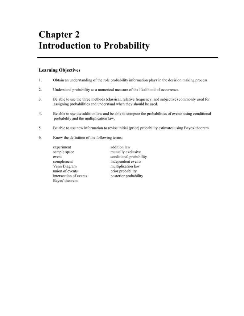 medium resolution of chapter 2 introduction to probability learning objectives 1 obtain an understanding of the role probability information plays in the decision making