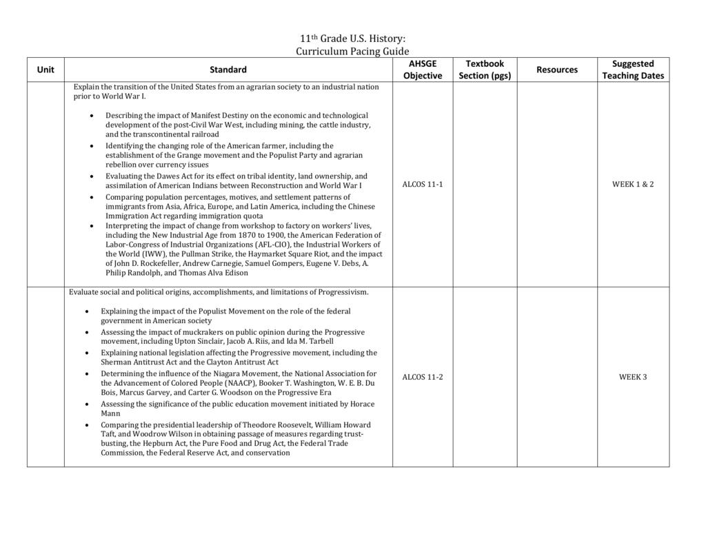11th Grade U S History Curriculum Pacing Guide Unit Standard