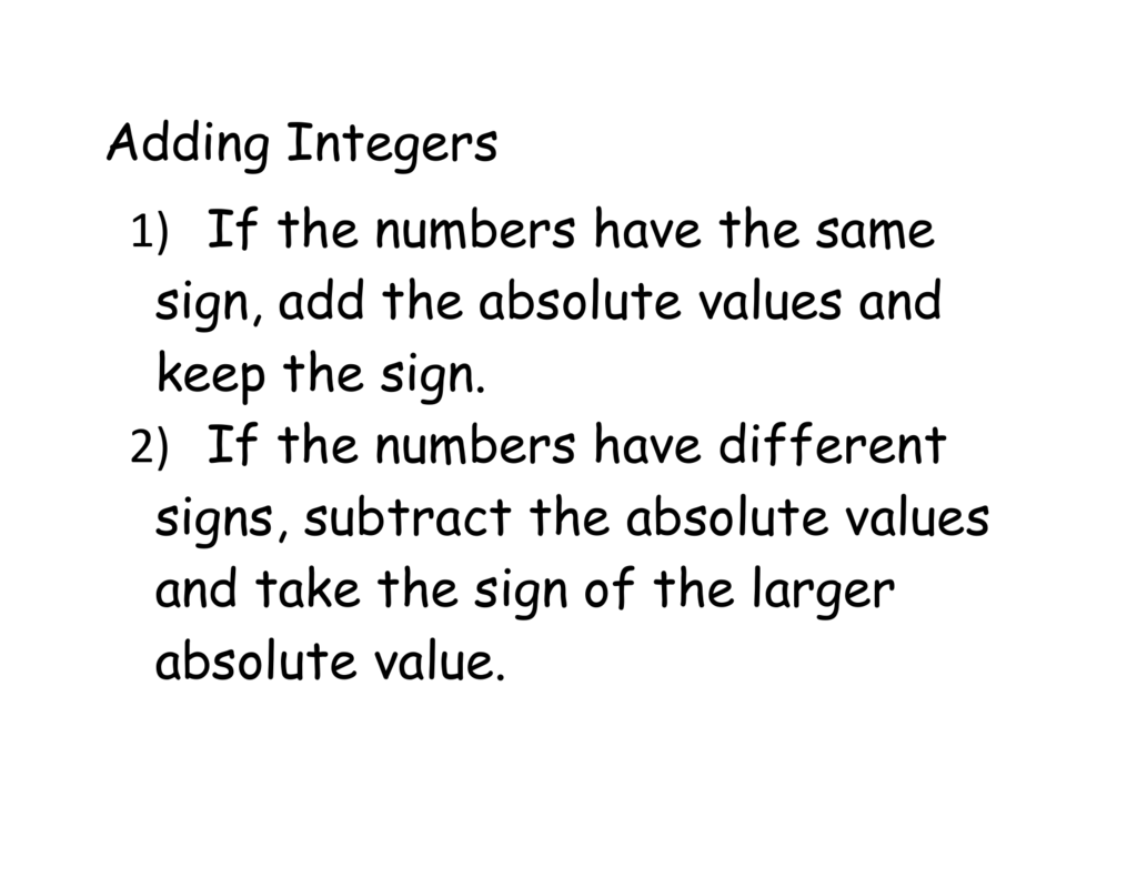 Adding And Subtracting Integer Notes