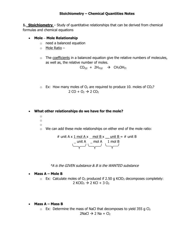 Chem 1 Stoichiometry Worksheet