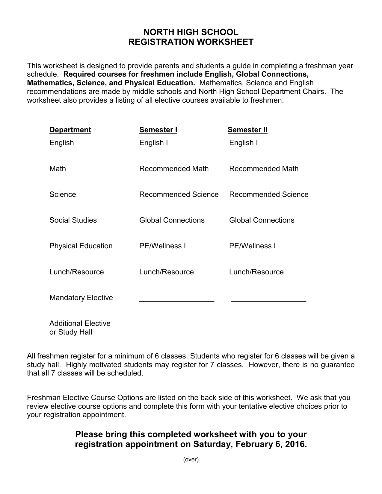 Registration Worksheet