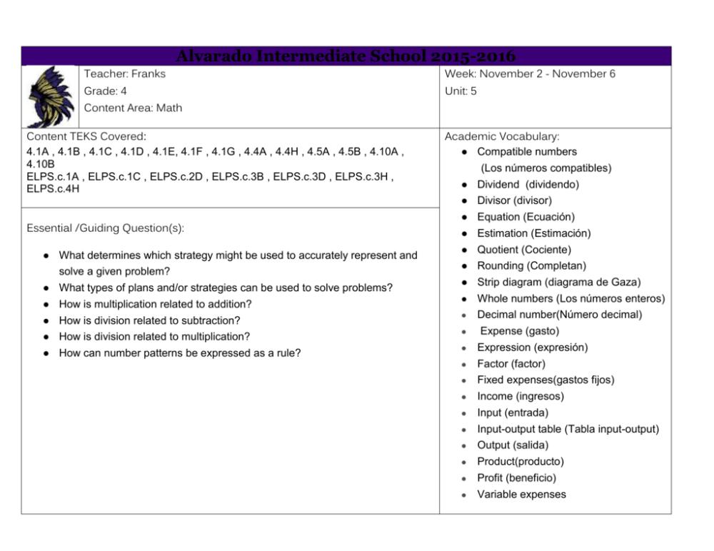 medium resolution of alvarado intermediate school 2015 2016 teacher franks week november 2 november 6 grade 4 unit 5 content area math content teks covered 4 1a 4 1b
