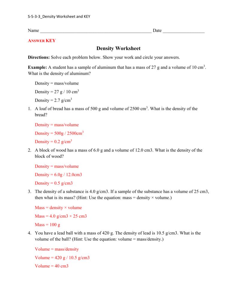 medium resolution of Density Practice Worksheet Answers