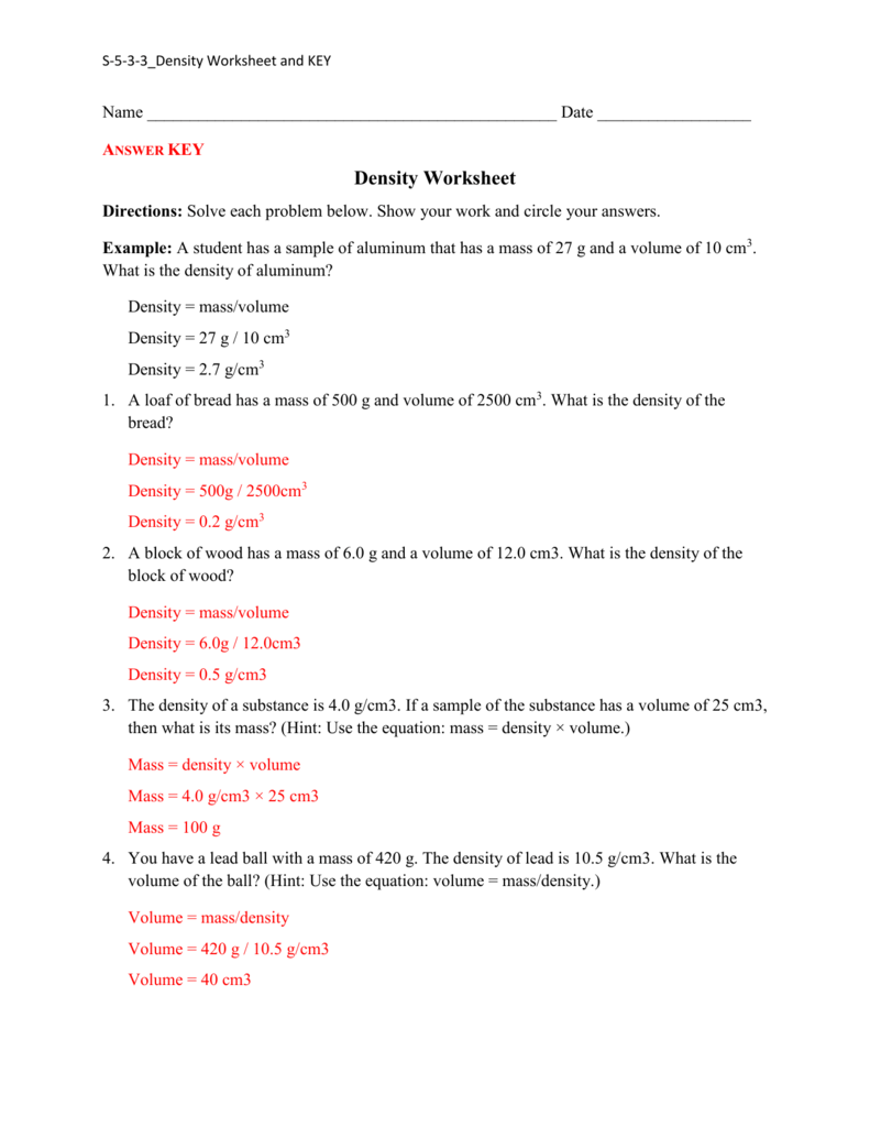 hight resolution of Density Practice Worksheet Answers