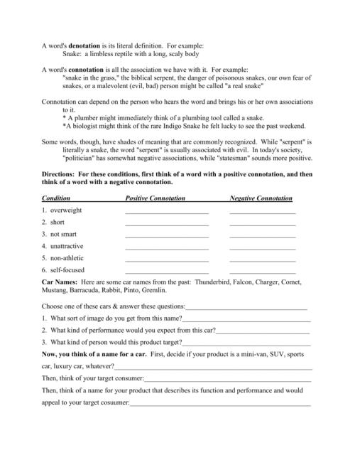 small resolution of Connotation/Denotation Worksheet 3