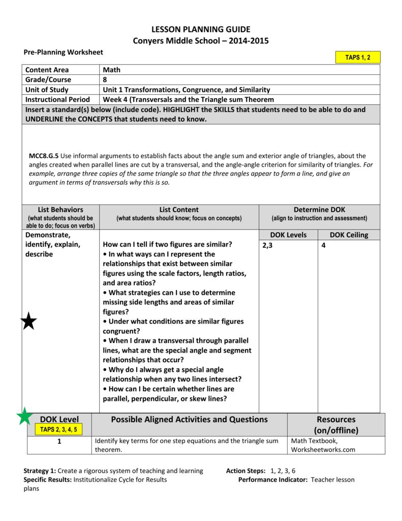 medium resolution of 8th grade Lesson plan - Week of 8
