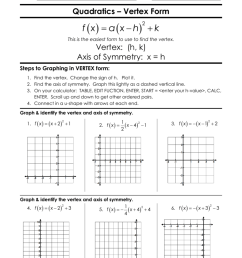 Graphing Quadratic Functions In Vertex Form Worksheet Answers - Worksheet  List [ 1024 x 791 Pixel ]