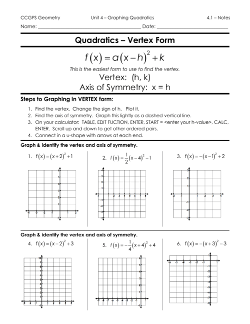 small resolution of Graphing Quadratic Functions In Vertex Form Worksheet Answers - Worksheet  List