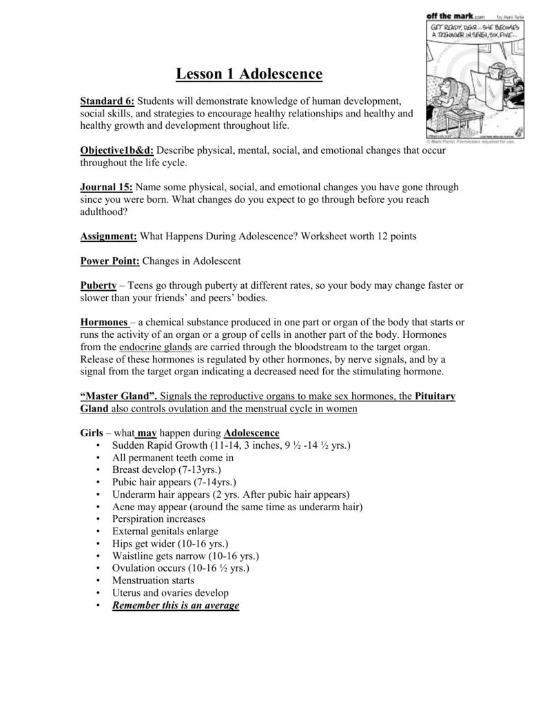 hight resolution of Lesson 1 Adolescence Blog