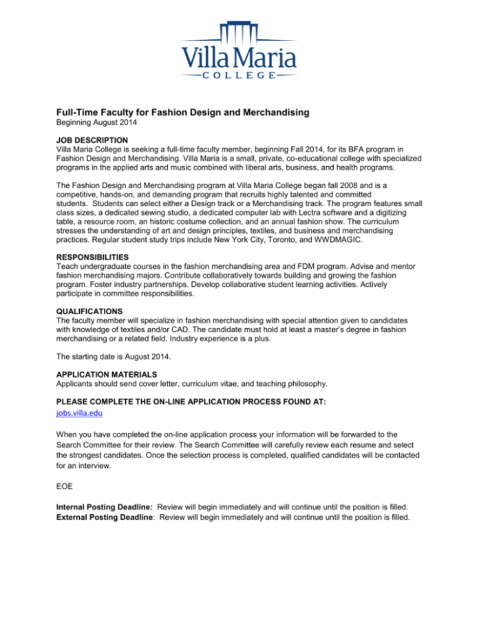 Full Time Faculty For Fashion Design And Merchandising