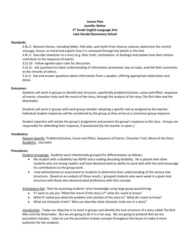 hight resolution of Lesson Plan Jennifer Mahar 3rd Grade English