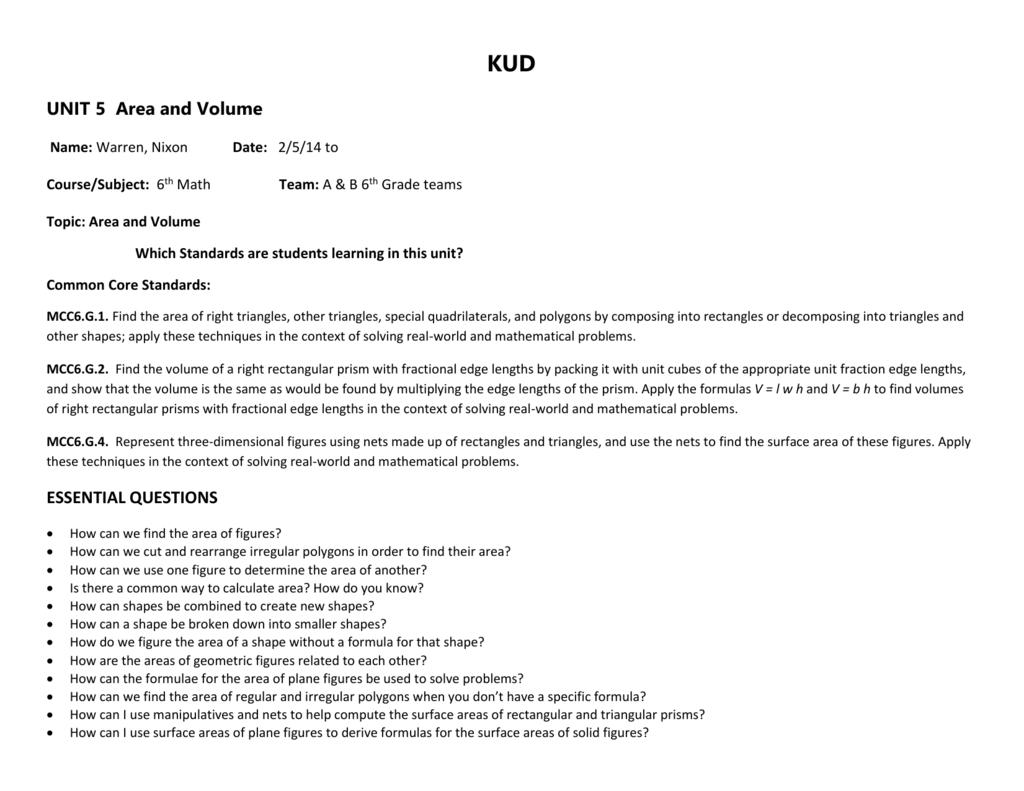 Kud Unit 5 Area And Volume