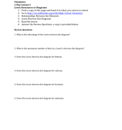 date period chemistry e day lesson 2 lewis structures or diagrams 1 print a copy of this page and hand it in when you return to school 2  [ 791 x 1024 Pixel ]