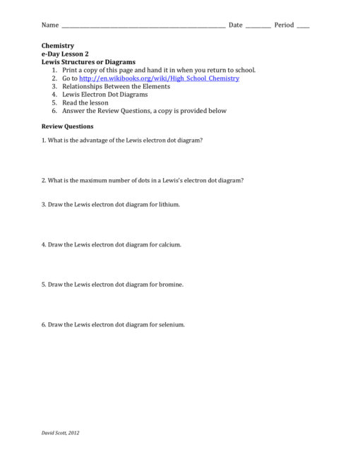 small resolution of date period chemistry e day lesson 2 lewis structures or diagrams 1 print a copy of this page and hand it in when you return to school 2