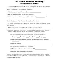 Classification of Life Worksheet [ 1024 x 791 Pixel ]