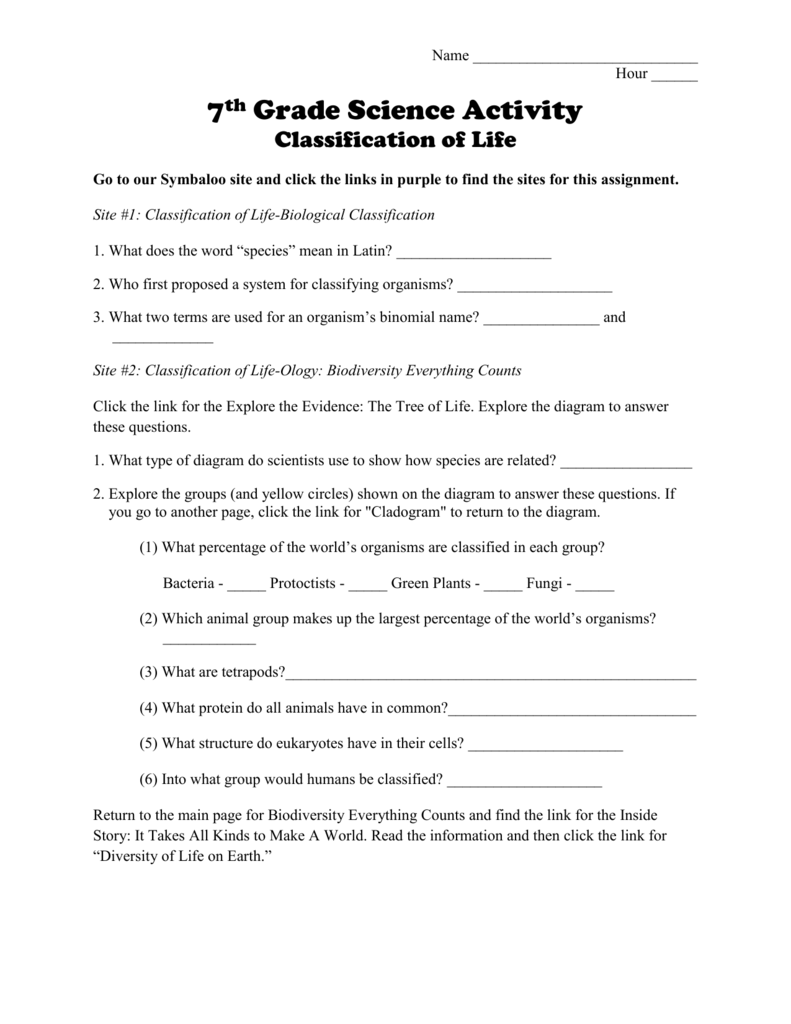 medium resolution of Classification of Life Worksheet