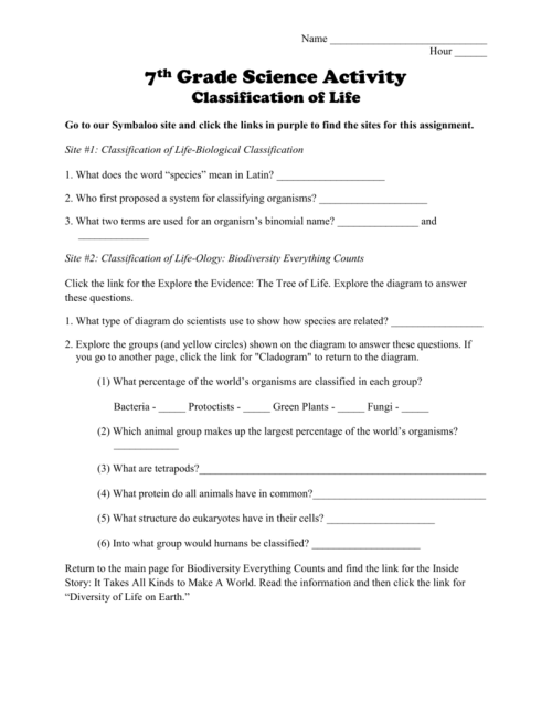 small resolution of Classification of Life Worksheet