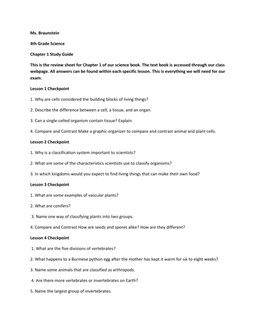 small resolution of SCIENCE Chapter 1 Study Guide