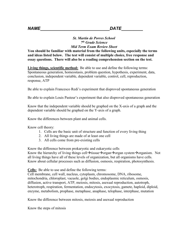 hight resolution of 7th grade science mid-term review sheet