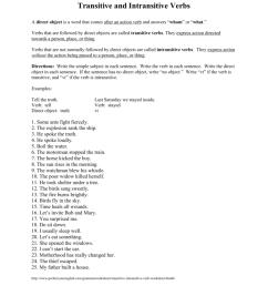 Transitive And Intransitive Verbs Worksheet - Worksheet List [ 1024 x 791 Pixel ]