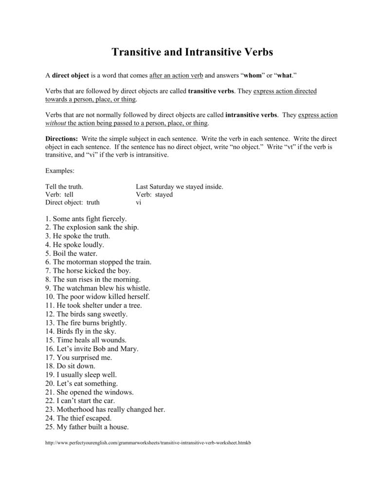 medium resolution of Transitive And Intransitive Verbs Worksheet - Worksheet List