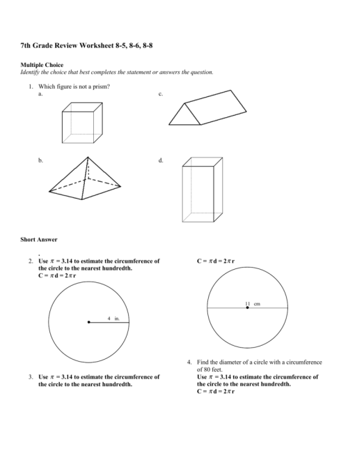small resolution of 7th Grade Review Worksheet 8-5