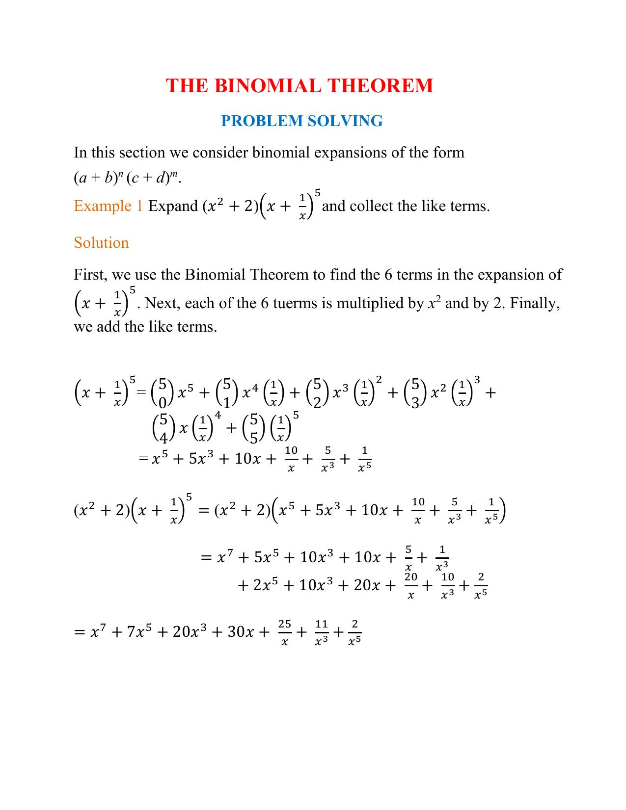 Mdm4u The Binomial Theorem Problem Solving