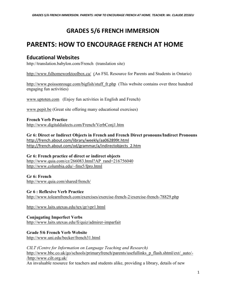 medium resolution of french at home - Calico School Library