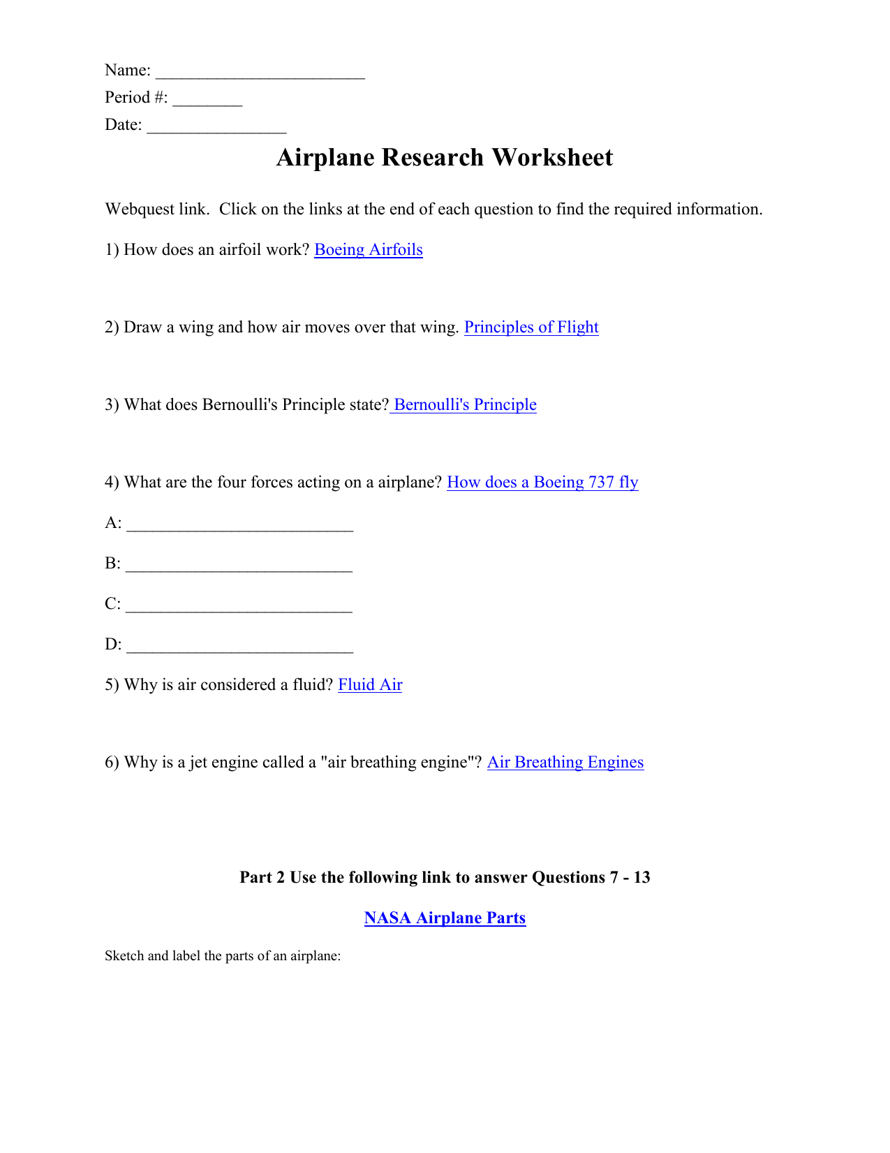 Airplane Research Worksheet Answers