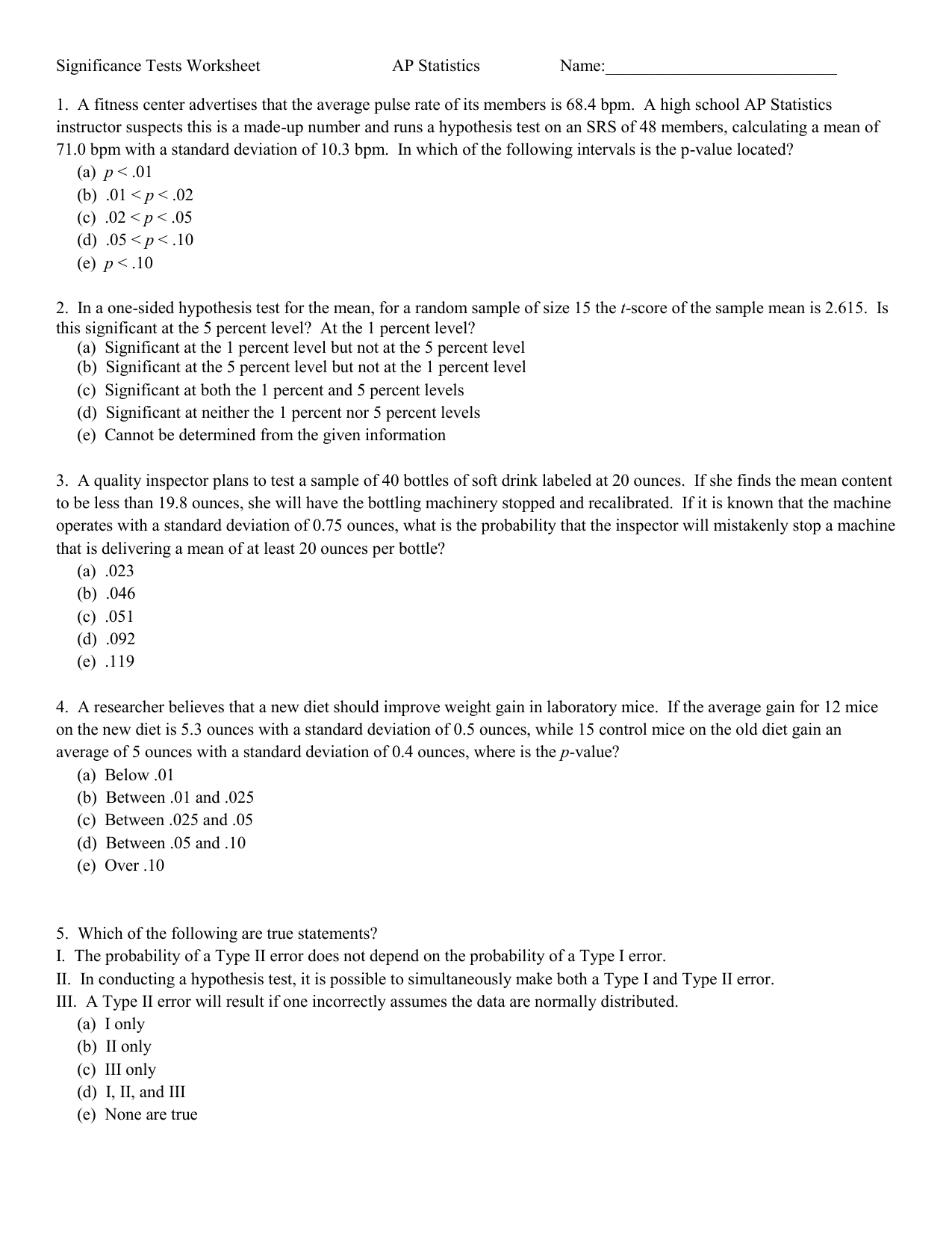 Significance Tests Worksheet Ap Statistics Name 1 A