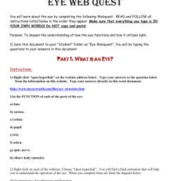 name eye web quest you will learn about the eye by completing the following webquest read and follow all instructions listed below in the order they  [ 791 x 1024 Pixel ]